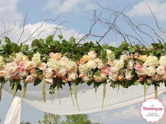 Свадебные арки из розово-белых цветов на свадьбу