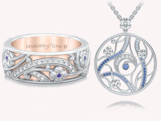 Подвеска и обручальное кольцо серии Восторг: Ласковый рассвет, DIAMOND OF LOVE