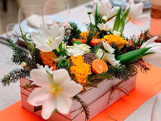 Украшения зала цветами осенью