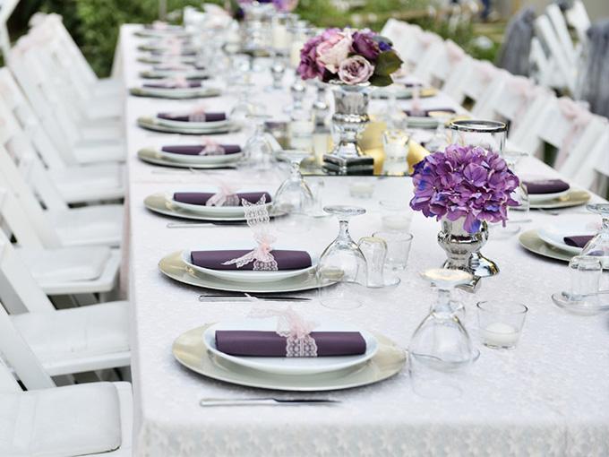 Оформление свадьбы в бело-фиолетовом тоне
