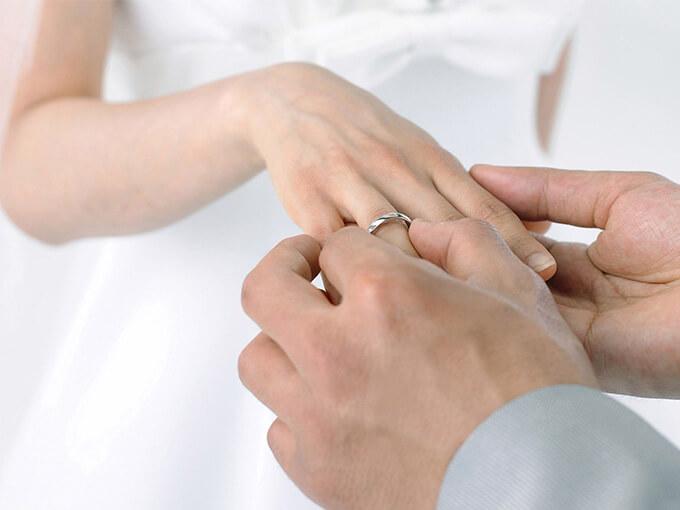 Одягання обручки на безіменний палець правої руки