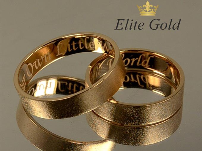 Золотые обручальные кольца EliteGold с гравировкой