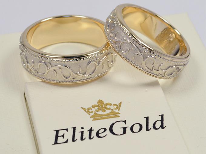 Золотые обручальные кольца EliteGold со сложным декором