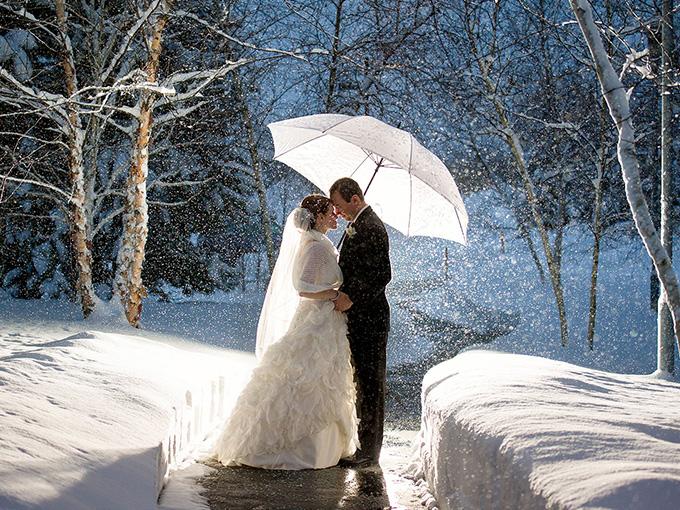 Фотография зимней свадьбы