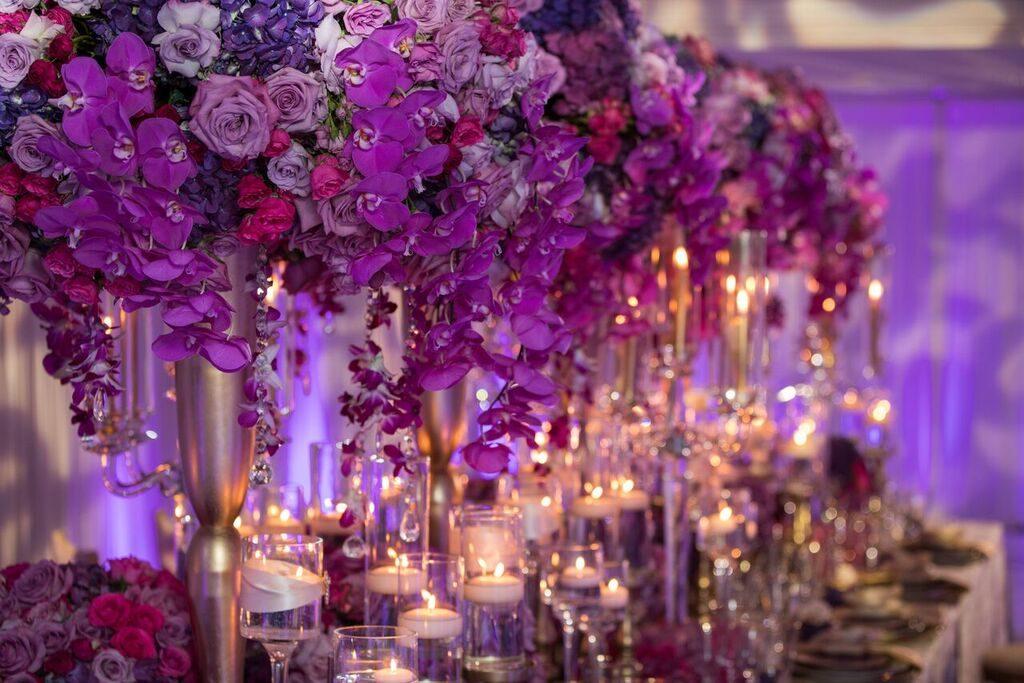 Ультрафиолетовый свадебный декор