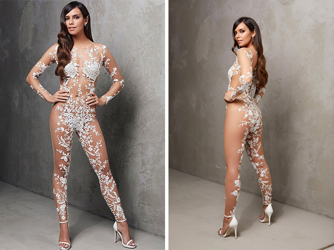 Модный тренд для смелых невест - 'Обнаженный' комбинезон'