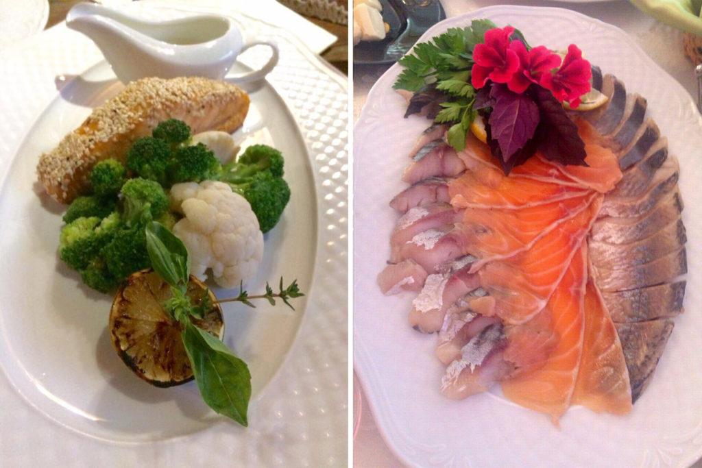 Соленья и филе лосося в кунжуте