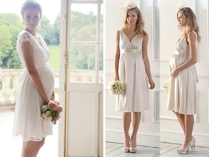 Короткое свадебное платье для беременной невесты