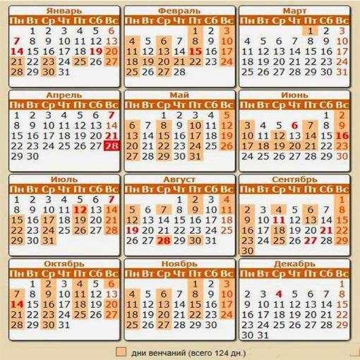 Венчальный календарь 2019