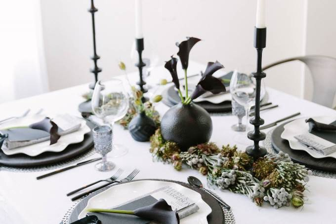 Декор и флористика черно-белой свадьбы