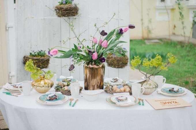 Декор столов сухоцветами