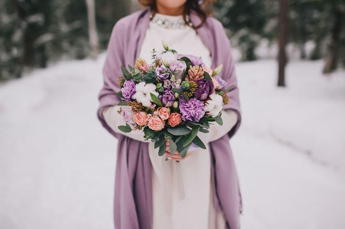 Зимний букет невесты с хлопком