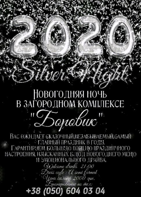 "Новогодняя ночь ""Silver Night 2020"" в ресторане ""Боровик"""